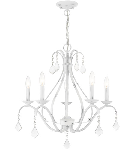 Livex 40845-60 Caterina 5 Light 24 inch Antique White with Clear Crystals Chandelier Ceiling Light photo thumbnail