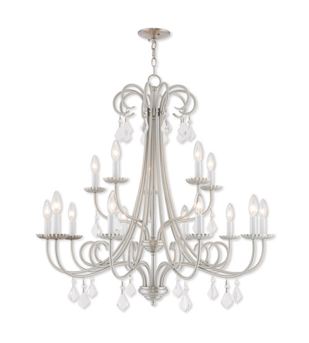 Livex 40879 91 Daphne 15 Light 36 Inch Brushed Nickel Foyer Chandelier Ceiling