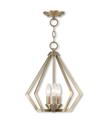 Livex 40923-01 Prism 3 Light 14 inch Antique Brass Mini Chandelier Ceiling Light photo
