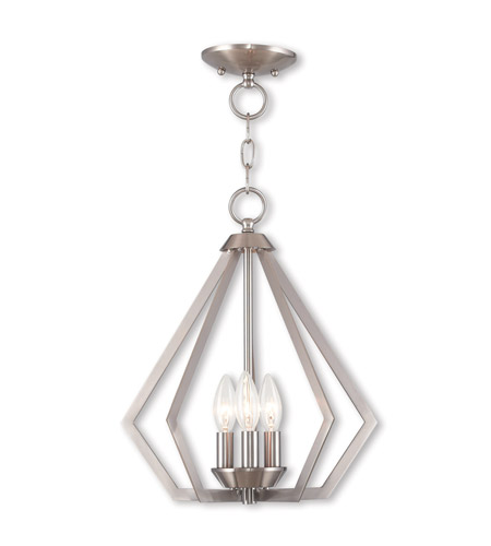 Livex 40923-91 Prism 3 Light 14 inch Brushed Nickel Mini Chandelier Ceiling Light photo