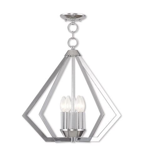 Polished Chrome Steel Prism Chandeliers