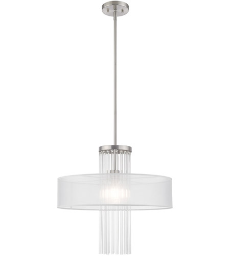 Livex 41141-91 Alexis 1 Light 20 inch Brushed Nickel Pendant Chandelier Ceiling Light photo
