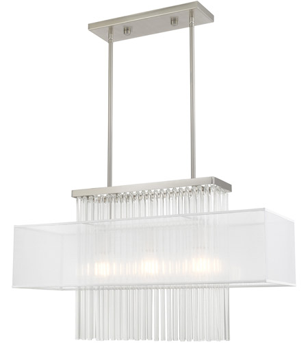Livex 41143-91 Alexis 3 Light 30 inch Brushed Nickel Linear Chandelier Ceiling Light photo