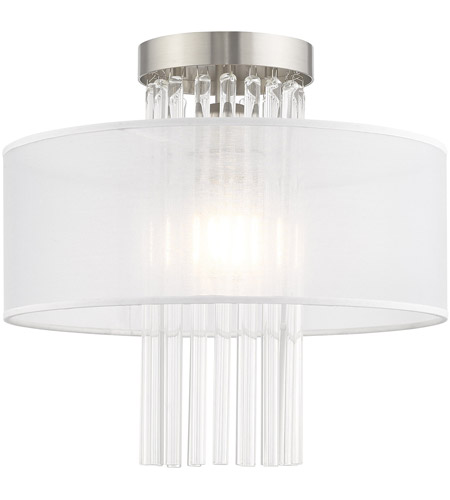Livex 41145-91 Alexis 1 Light 13 inch Brushed Nickel Flush Mount Ceiling Light photo