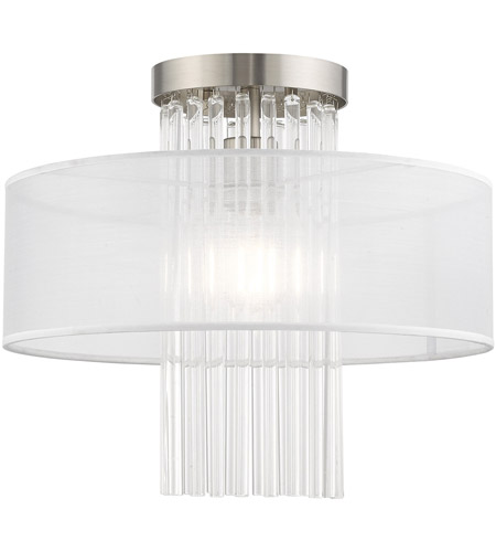 Livex 41146-91 Alexis 1 Light 15 inch Brushed Nickel Flush Mount Ceiling Light photo