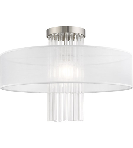Livex 41147-91 Alexis 1 Light 20 inch Brushed Nickel Flush Mount Ceiling Light photo