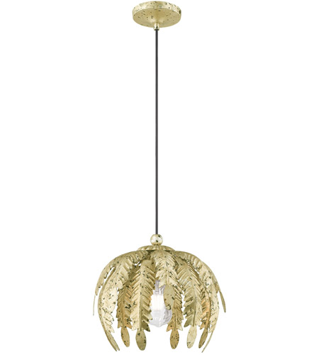 Livex 41231-28 Acanthus 1 Light 13 inch Winter Gold Mini Pendant Ceiling Light photo