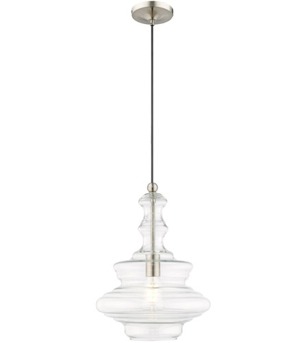 Livex Lighting 41238-91 Allison 1 Light 12 inch Brushed Nickel Mini Pendant Ceiling Light photo