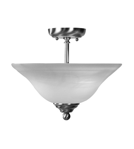 Livex 4167-91 Home Basics 2 Light 13 inch Brushed Nickel Semi-Flush Mount Ceiling Light in White Alabaster photo