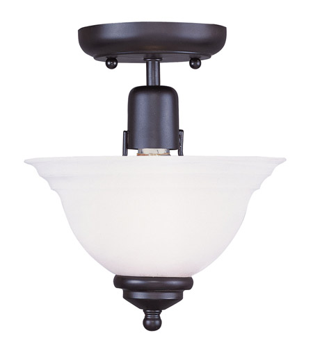 Livex 4250-04 North Port 1 Light 8 inch Black Ceiling Mount Ceiling Light in White Alabaster photo