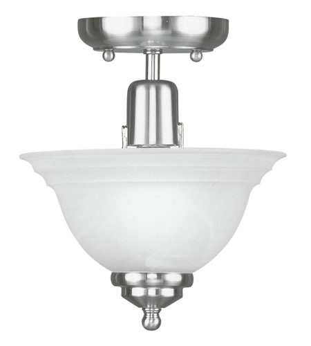 Livex 4250-91 North Port 1 Light 8 inch Brushed Nickel Ceiling Mount Ceiling Light in White Alabaster photo