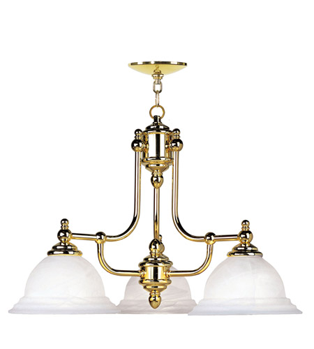 Livex 4253-02 North Port 3 Light 24 inch Polished Brass Chandelier Ceiling Light in White Alabaster photo