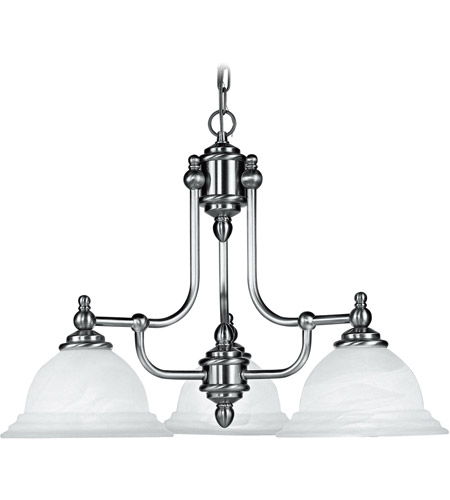 Livex 4253-91 North Port 3 Light 24 inch Brushed Nickel Chandelier Ceiling Light in White Alabaster photo