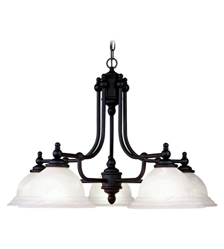 Livex 4255-04 North Port 5 Light 28 inch Black Chandelier Ceiling Light in White Alabaster photo