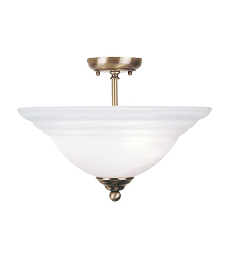 Livex Lighting North Port 3 Light Ceiling Mount in Antique Brass 4258-01 photo