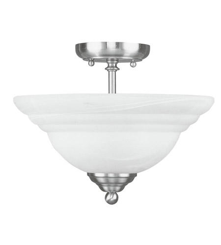 Livex Lighting North Port 2 Light Ceiling Mount in Brushed Nickel 4259-91 photo