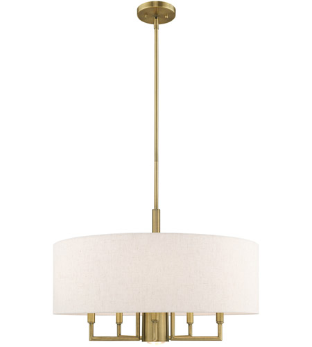 Livex 42605-01 Meridian 6 Light 24 inch Antique Brass Pendant Chandelier Ceiling Light photo thumbnail