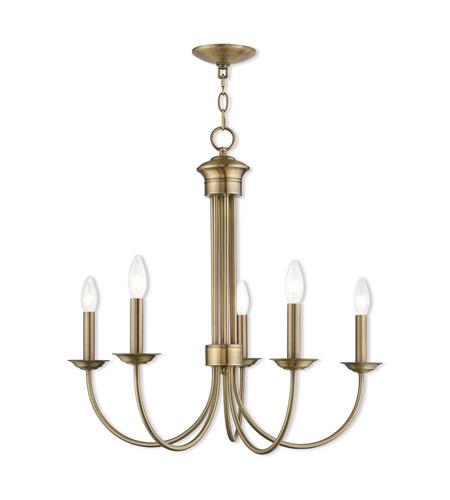 Livex 42685-01 Estate 5 Light 25 inch Antique Brass Chandelier Ceiling Light - Livex 42685-01 Estate 5 Light 25 Inch Antique Brass Chandelier