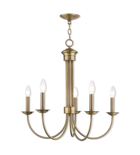 Beau Livex 42685 01 Estate 5 Light 25 Inch Antique Brass Chandelier Ceiling  Light Photo