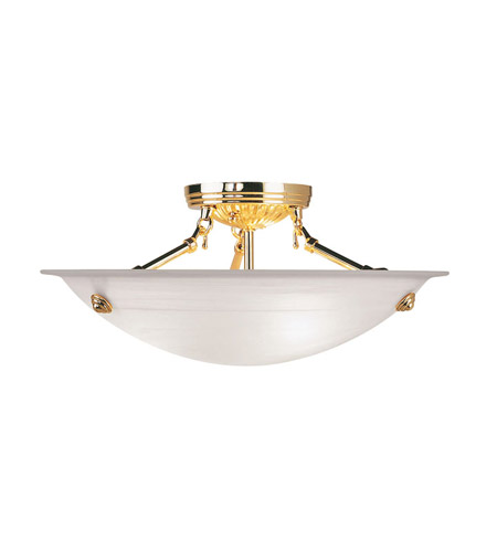 Livex 4273-02 Home Basics 3 Light 16 inch Polished Brass Ceiling Mount Ceiling Light in White Alabaster photo
