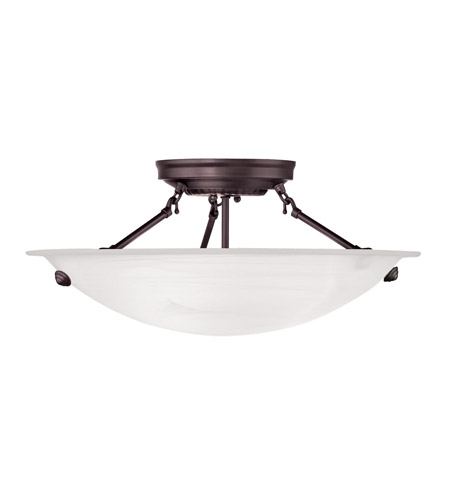 Livex 4273-07 Home Basics 3 Light 16 inch Bronze Ceiling Mount Ceiling Light in White Alabaster photo