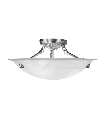 Livex 4273-91 Coronado 3 Light 16 inch Brushed Nickel Ceiling Mount Ceiling Light in White Alabaster photo