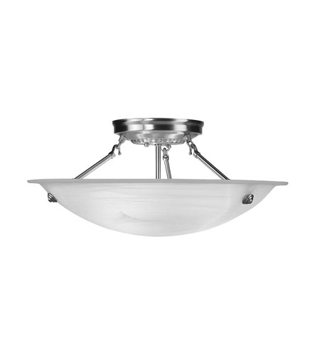 Livex 4274-91 Coronado 3 Light 20 inch Brushed Nickel Ceiling Mount Ceiling Light in White Alabaster photo