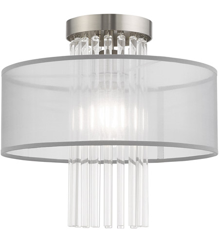 Livex 42802-91 Alexis 1 Light 13 inch Brushed Nickel Flush Mount Ceiling Light photo
