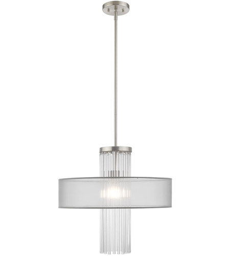 Livex 42804-91 Alexis 1 Light 20 inch Brushed Nickel Pendant Chandelier Ceiling Light photo