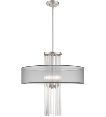 Livex 42805-91 Alexis 4 Light 24 inch Brushed Nickel Pendant Chandelier Ceiling Light photo