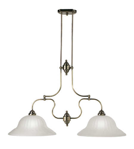 Livex Lighting Countryside 2 Light Island Light in Antique Brass 4282-01 photo
