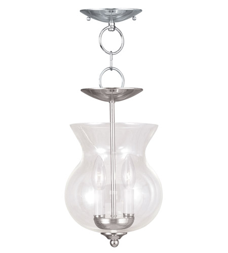 Livex 4393-35 Home Basics 2 Light 8 inch Polished Nickel Pendant/Ceiling Mount Ceiling Light photo