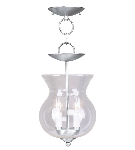 Livex 4393-91 Home Basics 2 Light 8 inch Brushed Nickel Pendant/Ceiling Mount Ceiling Light photo