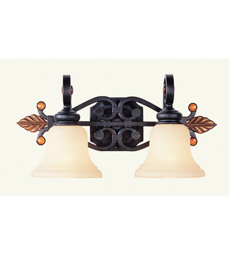 Livex 4412-56 Tuscany 2 Light 21 inch Copper Bronze with Aged Gold Leaves Bath Light Wall Light photo