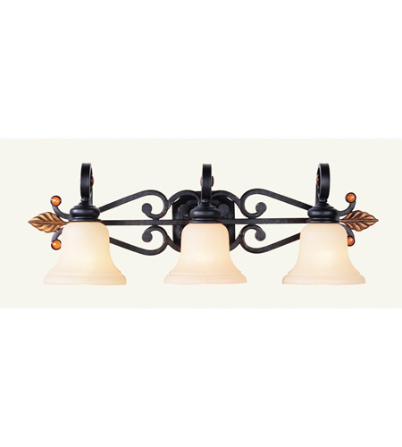 Livex Lighting Tuscany 3 Light Bath Light in Copper Bronze with Aged Gold Leaves 4413-56 photo
