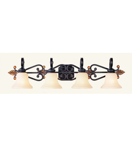 Livex 4414-56 Tuscany 4 Light 41 inch Copper Bronze with Aged Gold Leaves Bath Light Wall Light photo