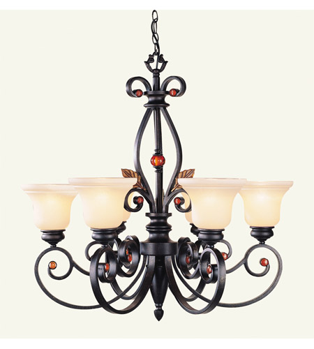 Livex 4426 56 Tuscany 6 Light 30 Inch Copper Bronze With Aged Gold Leaves Chandelier