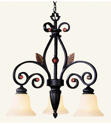 Livex 4433-56 Tuscany 3 Light 24 inch Copper Bronze with Aged Gold Leaves Chandelier Ceiling Light photo