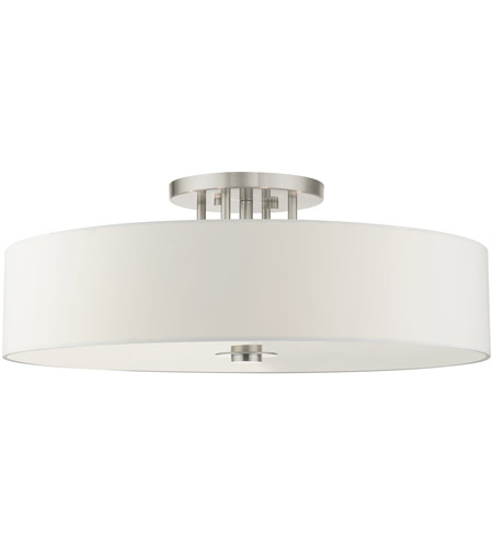 Livex Lighting 45798-91 Meridian 6 Light 30 inch Brushed Nickel Semi Flush Ceiling Light photo thumbnail