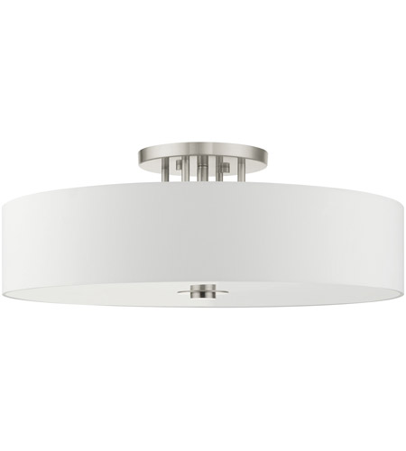 Livex Lighting 45798-91 Meridian 6 Light 30 inch Brushed Nickel Semi Flush Ceiling Light alternative photo thumbnail