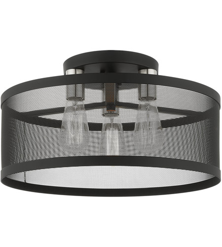 Livex 46219-04 Industro 3 Light 18 inch Black with Brushed Nickel Accents Semi Flush Ceiling Light photo thumbnail