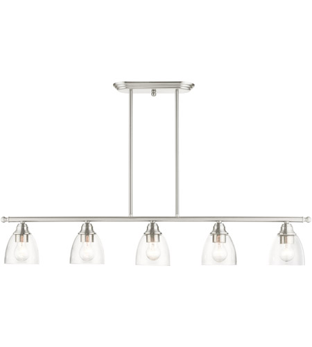 Livex 46338-91 Montgomery 5 Light 45 inch Brushed Nickel Linear Chandelier Ceiling Light photo thumbnail