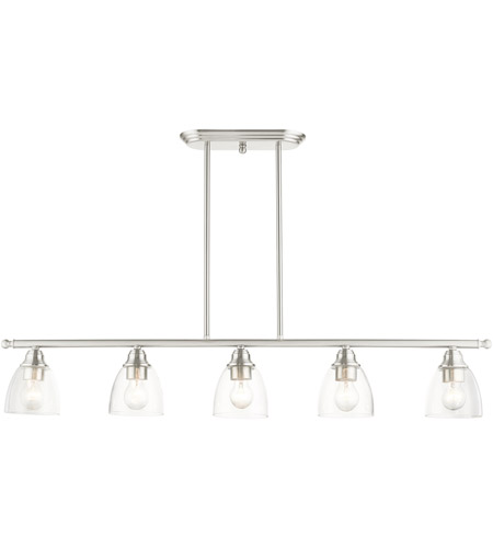 Livex 46338-91 Montgomery 5 Light 45 inch Brushed Nickel Linear Chandelier Ceiling Light alternative photo thumbnail