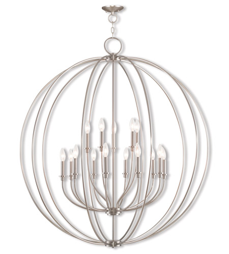 Livex 46690 91 Milania 15 Light 42 Inch Brushed Nickel Foyer Chandelier Ceiling