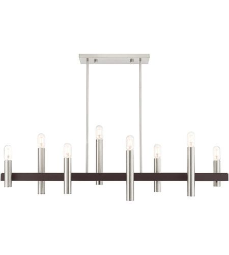 Livex 46868-91 Helsinki 8 Light 10 inch Brushed Nickel with Bronze Accents Chandelier Ceiling Light photo thumbnail
