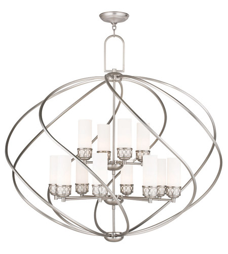 Livex 47199 91 westfield 12 light 42 inch brushed nickel foyer livex 47199 91 westfield 12 light 42 inch brushed nickel foyer chandelier ceiling light aloadofball Image collections