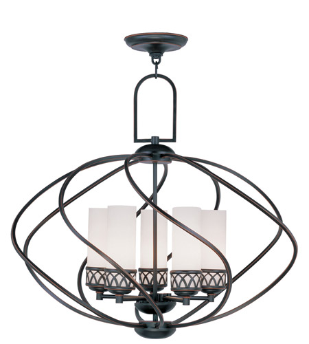 Livex 4725-67 Westfield 5 Light 26 inch Olde Bronze Chandelier Ceiling Light in Hand Blown Satin White photo