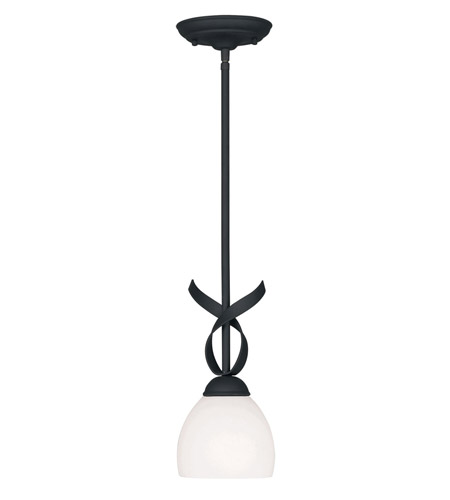 Livex 4750-04 Brookside 1 Light 6 inch Black Mini Pendant Ceiling Light photo
