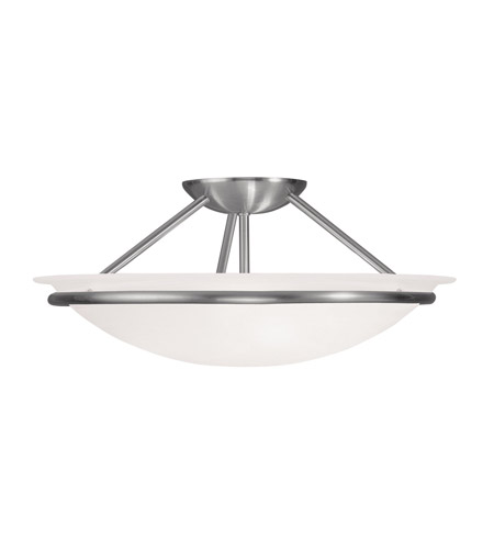 Livex 4824-91 Newburgh 3 Light 16 inch Brushed Nickel Ceiling Mount Ceiling Light photo