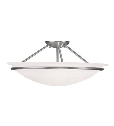 Livex 4825 91 Newburgh 3 Light 20 Inch Brushed Nickel Ceiling Mount Ceiling Light